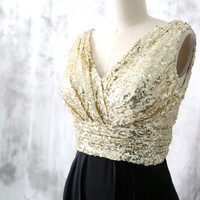 Sequin Chiffon Bridesmaid Dresses, Gold Black Sequin Bridesmaid gown, V Neck Long Sequin Chiffon dress, Party dress, Prom Dress, Formal Gown