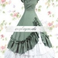 Navy Green And White Cotton Bow Classic Lolita Dress [T110118] - $77.00 : Cosplay, Cosplay Costumes, Lolita Dress, Sweet Lolita