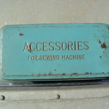 Sewing Accessories Metal Tin Box 1950s Light Blue Tool Box for Sewing Supplies Rusty Patina Home Decor