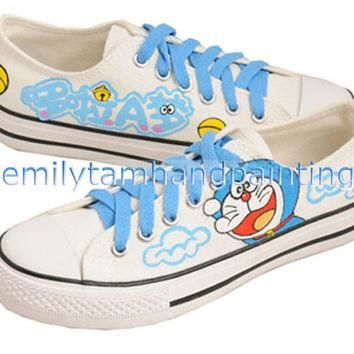 Custom Doraemon Converse Sneakers Low Cut Hand Painting Cartoon Canvas Shoes