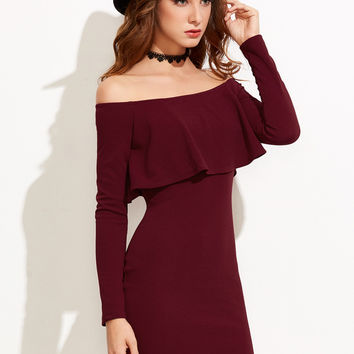 Burgundy Off The Shoulder Ruffle Bodycon Dress | MakeMeChic.COM