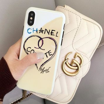 Chanel Trending Women Personality Iphone 8plus mobile phone shell Love Pattern iphone 6/7 Blue Light Soft Shell Full Bag Edge Iphone X