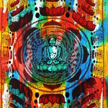 Tie Dye Buddha Bohemian Tapestry Wall Tapestry Indian Mandala Tapestries Hippie Tapestry Wall Hangings Cotton Bedspread