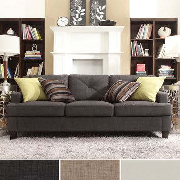 INSPIRE Q Elston Linen Tufted Sloped Track Sofa | Overstock.com Shopping - The Best Deals on Sofas & Loveseats