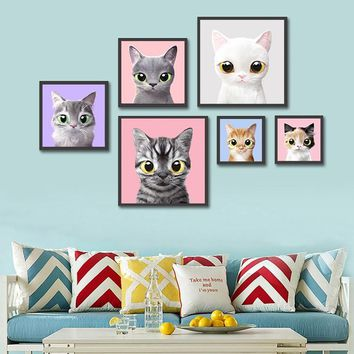 Cute Poster Cat Wall Decor Kids Room Decor Hanging Wall Art Picture Modern Print Canvas Painting Living Room Decoration Cuadros