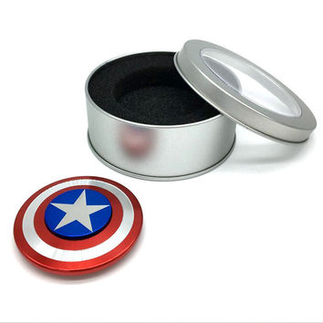 Fidget Spinner Metal Finger Spinner Captain America Shield Marvel Toy hand spinner Top Spinners beyblade Bearing Superheroes