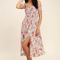 View from the Meadow Cream Floral Print Off-the-Shoulder Dress