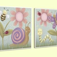 Happy Bugs Wood Wall Art (Set of 2) (1145) - Illuminada