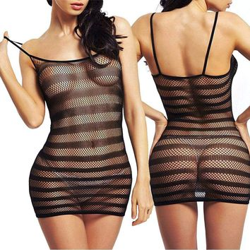 New Sexy Fishnet Stripe Stretch Lingerie Babydoll Underwear Women's Sleepwear US
