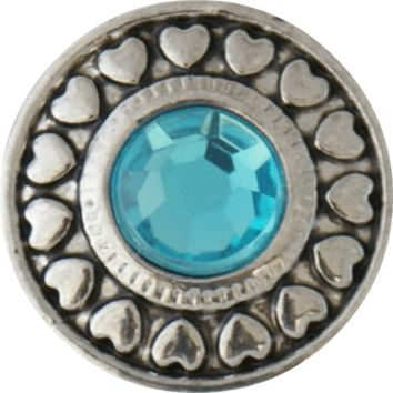 Snap Charm Turquoise Crystal Heart Border 20 mm