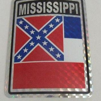 "Mississippi Flag Reflective Sticker 3""x4"" Inches Adhesive Car Bumper Decal"
