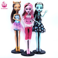 NO BOX 3 pcs/set Dolls Draculaura/Clawdeen Wolf/ Frankie Stein Moveable Joint Body  Girls Plastic Classic Toys
