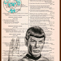 Spock Vulcan Greeting Black & White Drawing Art Beautifully Upcycled Vintage Dictionary Page Book Art Print, Star Trek Print