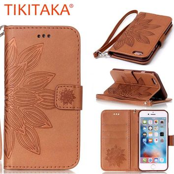Leather Flip Case For iPhone 7 6 6s Plus SE 5 5s Funda Fashion 3D Embossed Half Flower Pattern Stand Wallet Cover Holder Shell