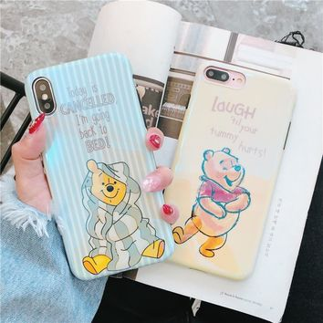 happy Cute Winnie Pooh Bear for iPhone 8 7 6 6S Plus X luxury Blue Ray IMD Soft TPU Silicone Phone Cover Cases