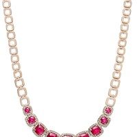 Rosa by EFFY Ruby (7-5/8 ct. t.w.) and Diamond (5/8 ct. t.w.) Square Necklace in 14k Rose Gold
