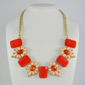 Anthropologie Inspired CORAL and Gold SqUaReS & FlOwErS Bib Statement Necklace
