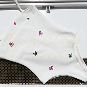 GeorgiaLeyla Garden Swimwear - Swarovski Roses & Leaves White Bodysuit / Swimsuit