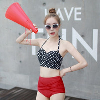 Women 50s Style Vintage Retro Dots Bandage Push Up Bra Rockabilly High Waist Bottom Bikini Swimsuit Hot Sexy Swimwear Female