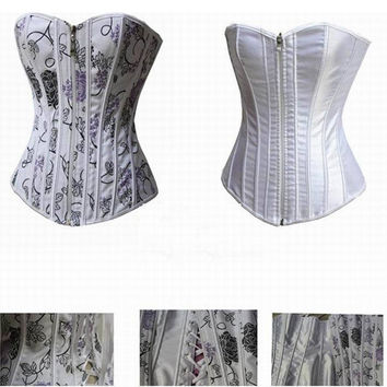 Body Shaper Waist Stylish Sexy White Print Palace Slim Corset [4965290628]