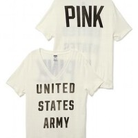 Army Vintage V-neck Tee - Victorias Secret PINK - Victoria's Secret