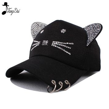 Trendy Winter Jacket Rhinestone Snapback Cute Cat Ears Cartoon Set auger Baseball Cap Women Casual tricyclic Sun Hat Gorras Bones Casquette for Woman AT_92_12
