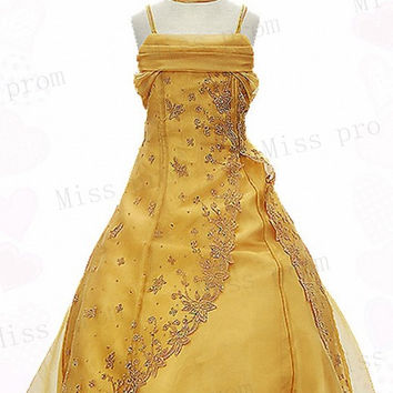 Lovely Princess Bow Spaghetti Appliques Zipper Sequins Beads Sleeveless Chiffon Wedding/Evening Flower Girl Dress With Flowers Bow