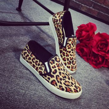 Canvas Leopard Printed Shoes for Women
