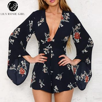 Lily Rosie Girl Deep V Neck White Floral Print Playsuits Women Long Sleeve Autumn Winter Sexy Jumpsuits Short Rompers Overalls