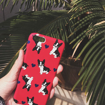 For iPhone 5s/6/6plus Bulldog Red Frosted Cases