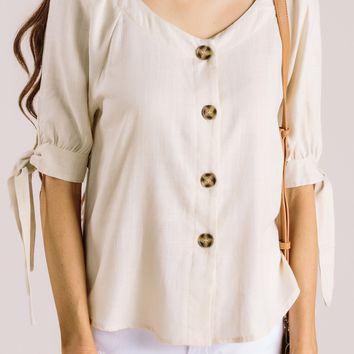 Lisa Oatmeal Button Top