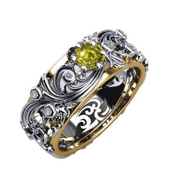 Floral Band Ring Yellow Stone Wedding Band Citrine Silver Edwardian Ring Accent Diamonds Milgrain Band Engraved Ring Flower Band, Leaf Ring