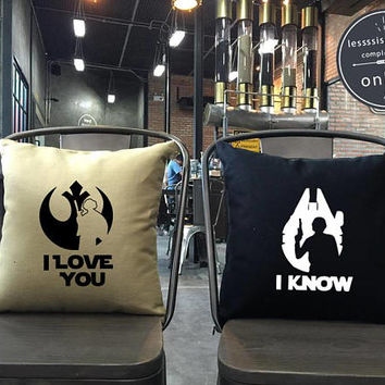 I love you I know Pillow set, Star Wars Pillow Set,love pillow, Luke and Leia, Star Wars Wedding, Star Wars Gift, Star Wars Decor