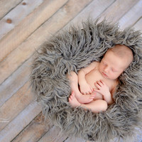 Oyster Curly Alpaca Faux Flokati Fur Newborn Photography Prop