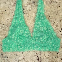 Halter Lace Bralette in Ocean Wave