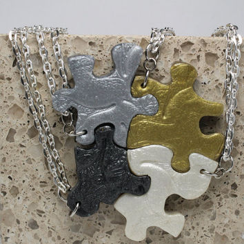 Puzzle Necklace Friendship Jewelry Set of 4 Multi Color  Necklaces Polymer Clay Leaf Design Set Made To Order