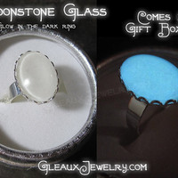 Bella's Twilight Moonstone inspired Glow in the dark enchanted glass adjustable ring magic witch