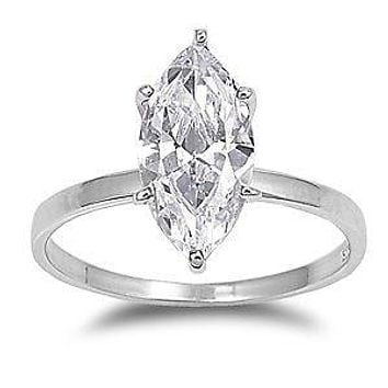 .925 Sterling Silver Marquise Diamond Engagement Ladies Ring size 4-10 Huge Bridal Solitaire 3 Carat CZ