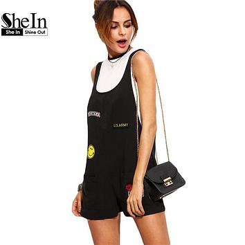 SheIn 2016 Womens Overalls Summer Casual Jumpsuits and Rompers Black Patch Scoop Neck Sleeveless Strap Pockets Romper