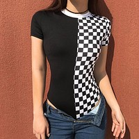 Women Personality Checkerboard Multicolor Tartan Stitching Round Neck Tops Short Sleeve Bodysuit