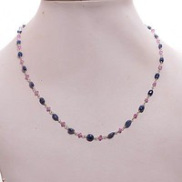 100% Natural Untreated Blue Pink Sapphire Oval Beads Women Chain Necklace 16""