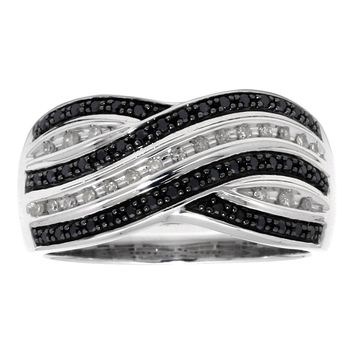 1/4 cttw Black and White Diamond Criss Cross 925 Sterling Silver Ring