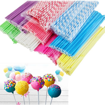 100pcs Colorful Lollipop Stick 15CM Paper Cake Pop Sticks Solid Color Candy Chocolate Sugar Cudgel Pole Handle Party Favor