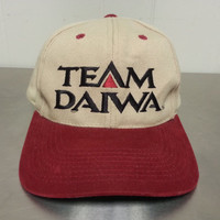 Vintage 90's High Quality Team Daiwa Strapback Hat Brown and Red Made By Signature