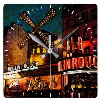 Retro Paris Famous Cabaret With Glowing Lights Square Wall Clock