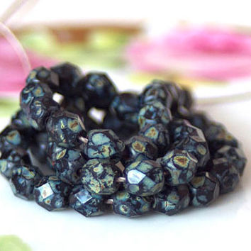 Czech Faceted Glass Beads - 6mm Fire polished Picasso