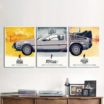 HDARTISAN Canvas Art Movie Poster 3 Pieces Back to the Future Phantom City Painting Home Decor Wall Pictures For Living Room