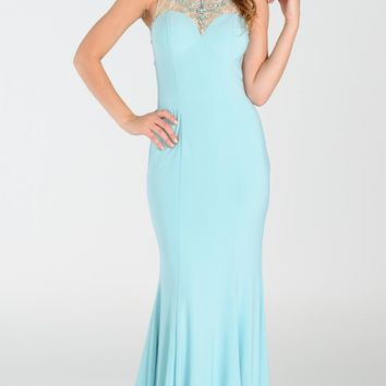 Elegant mermaid dress with lace illusion beaded neckline and back 101-7316 Prom dress