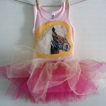 COWGIRL PONY Tank Top Tutu - Horse Tutu - Birthday or just for fun - Infant sizes 3/6 months to 18/24 months, 2t, 4t, 6,8 and up.