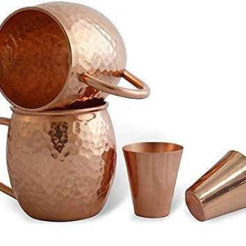 STREET CRAFT 100 Pure Solid Copper Moscow Mule Mugs Hammered Moscow Mule Mug Cup Set of 2 Size 18 Ounce Free 2 Smooth Copper Shot Glasses Size 2 Ounce